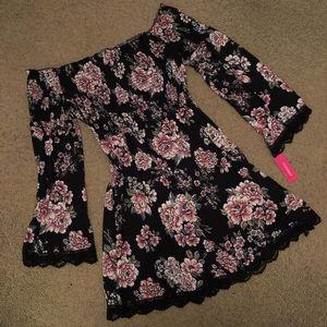 Black off the shoulder floral dress *NWT*